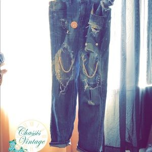 Distressed, pearl embellished J crew denim jeans
